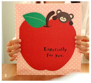 korean love strawberry apple signature card thank a teacher birthday gift ideas girlfriends big oh greeting - Big Greeting Cards