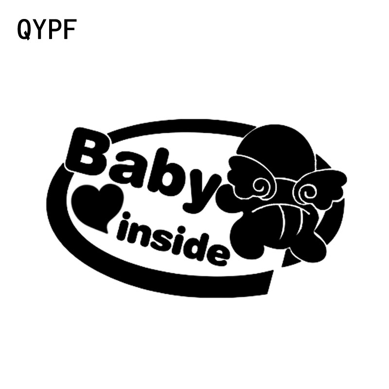 QYPF 18.4CM*10.8CM Lovely Angel Wings BABY ON BOARD Baby In The Car Stickers Warning Vinyl Decoration Black/Silver S9-2053
