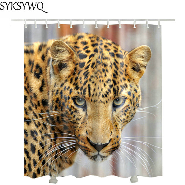 Leopard Shower Curtain Hotel Decor Waterproof Drop Shipping Customized For The Bathroom With 12