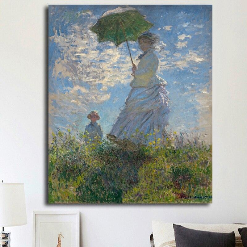 Hohe Qualitat Malerei Die Spaziergang Frau Mit Sonnenschirm Durch
