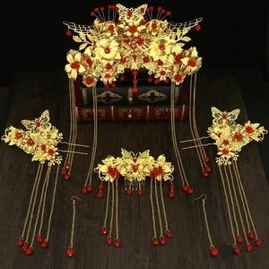 Image 4 - Nieuwe stijl Chinese bruiden hoofddeksels Phoenix kroon trouwjurk hoofd jurk accessoires oude kostuum Han accessoires