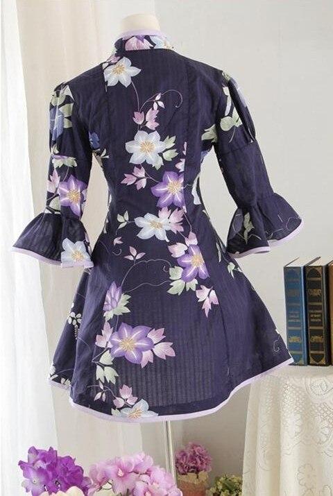 Сладкая Лолита средневековое традиционное Ципао китайское платье хлопок платье в викторианском стиле цветок Летний стиль