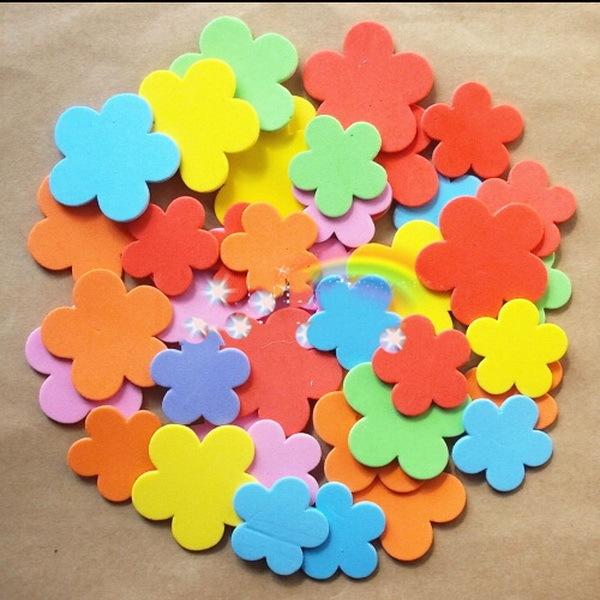 50pcs Flower EVA Sticker For Kids DIY Craftwork Scrapbook Foam Material Handicraft Children Kindergarten