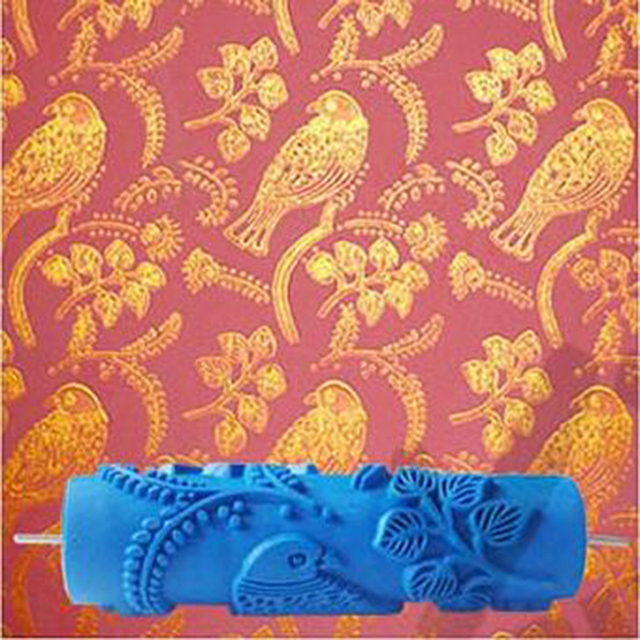 Bird patterned roller 7inch 3d wallpaper decoration toll wall painting  roller, rubber roller without handle