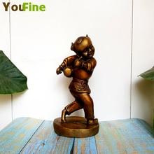 Bronze Pure Copper Children's Sculpture Ancient Drum Drum Child Statue Music Character Group Sculpture Home Decoration