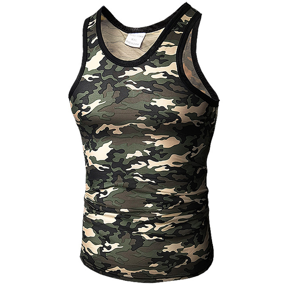 Men   Tank     Top   Military Camo Camouflage Mens Bodybuilding   Tank     Tops   Singlet Clothing Workout Undershirt Stringer Vest Tee