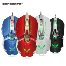 ZERODATE Wired Rato Gaming Mouse com Luz LED Peso Programação 8 Botões Do Mouse Gamer 3200 DPI Ajustável para PC Portátil Mou