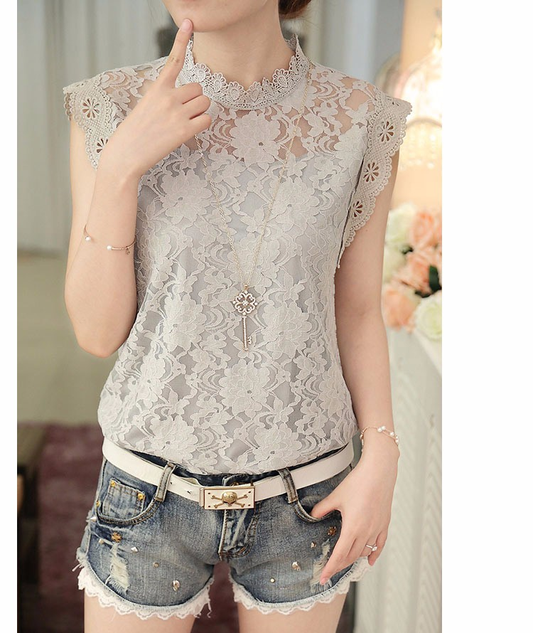 445c6b58937d6c ... Summer Ladies Tops Sexy Plus Size White Gray Lace Blouse Top Crochet  Sleeveless Stand Neck Casual ...