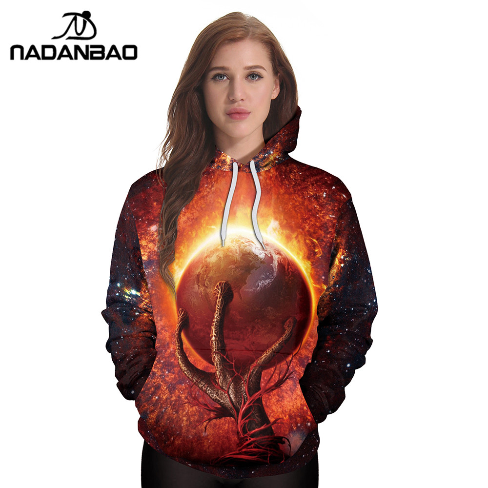 NADANBAO New Style Hiphop Hoodies Galaxy Space 3D Printing Cool Fireball Women Hooded Sweatshirt Coats Casual Sportswear