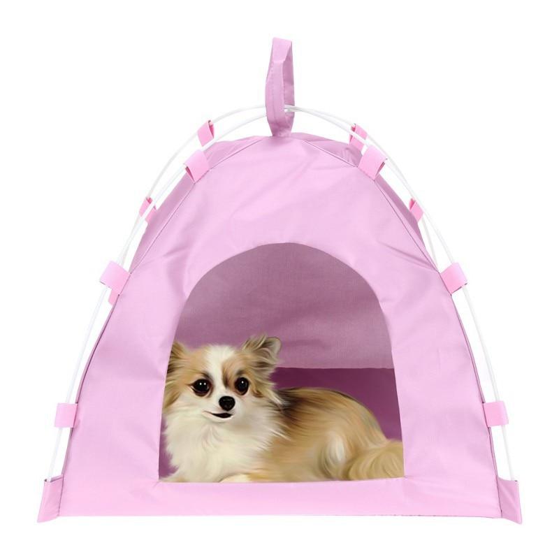 Pet Tent Dog Cat Oxford Cloth Fiber Rod Waterproof Detachable Folding Sleeping Bed Mat Puppy Kitten Outdoor Travel Supplies
