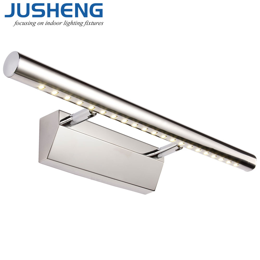 Jusheng modern led wall lights fixture in bathroom stainless steel led mirror light over mirror for Stainless steel bathroom lights