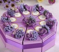 50 unids/lote envío gratis Triángulo de La Torta/caja de Dulces favor de La Boda Caja de Dulces Diy color de rosa/rojo/púrpura/azul 4 colores para la opción