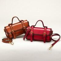 Cow Skin Satchels Women Handbag 2018 Handmade Genuine Leather Shoulder Sling Bags Office Ladies Hand Bag Summer Messenger Bags