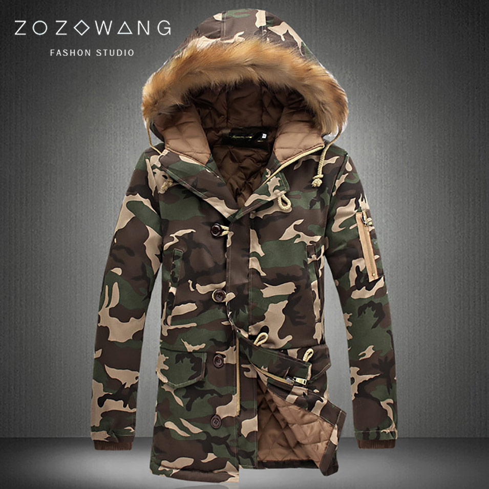 Zozowang 2019 New Brand Winter Men Thick Camouflage Jacket Men's Parka Coat Male Fur Hooded Parkas Jacket Men Military Overcoat