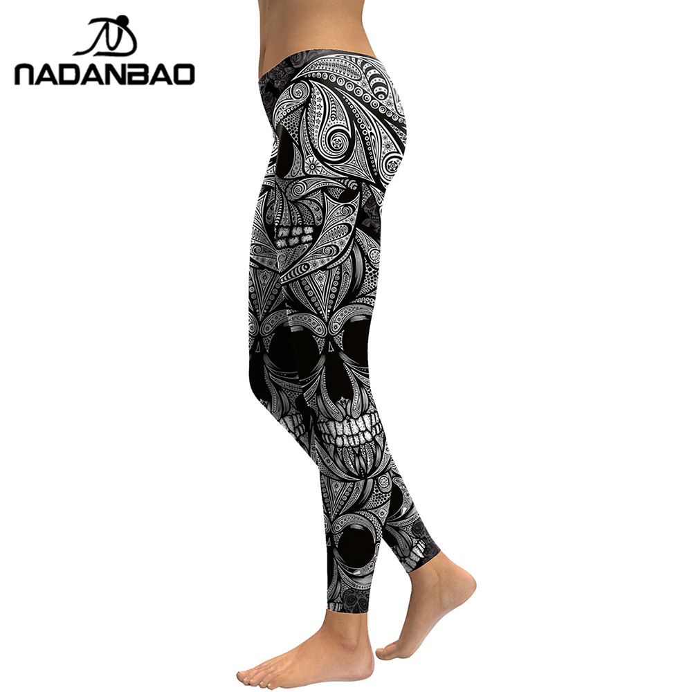NADANBAO 2019 New Design Leggings Women Skull Head Digital Print Rose Fitness Leggins Plus Size Elastic Workout Pants Legins