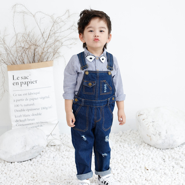 969b2417c93 Baby boy girl overalls Kids boys girls denim jumpsuits Children jumpsuits  baby Ripped jeans good quality children clothing