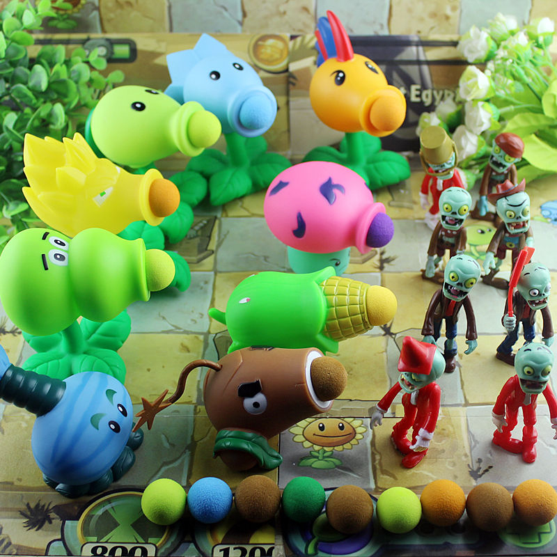 5pcs 10CM PVZ Plants vs Zombies Peashooter PVC Action Figure Model Toy Pea Gifts Toys Children High Quality Brinquedos OPP Bag