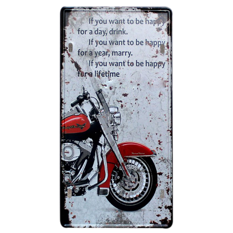 Red Motorcycles License Plate Metal Plate Car Number Tin Signs Bar Pub Cafe Home Decor Metal Sign Garage Painting Plaques Signs