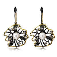 New Black Party Earrings Black Gold Plated W Cubic Zirconia Ladies Pearl Drop Earrings New Fashion