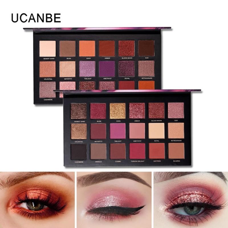 UCANBE Brand Shimmer Matte Eyeshadow Makeup Palette Long Lasting Waterproof Nude Eye Shadow Powder Eyeliner Mascara