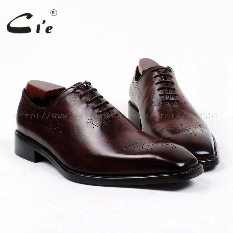 cie square plain toe whole cut patina dark brown custom calf leather outsole breathable bespoke leather men shoe handmade ox415