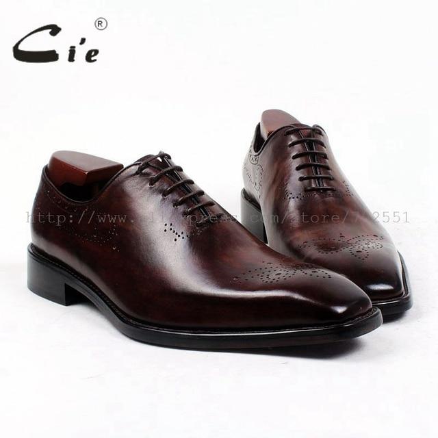 ac6fa3382239 cie square plain toe whole-cut patina dark brown custom calf leather  outsole breathable bespoke leather men shoe handmade ox415