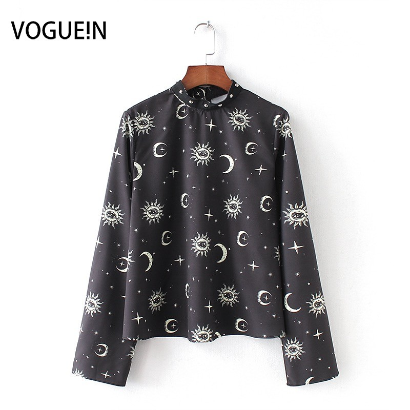 VOGUEIN New Womens Long Sleeve Sun Moon Print Pullover   Blouse   Short Tops   Shirt   Wholesale