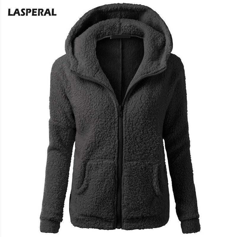LASPERAL Autumn Faux Rabbit Fur Hooded Hoodies Sweatshirts Women 2017 Long Sleeve Pocket Zip-up Hoodie Winter Warm Moletom 2017