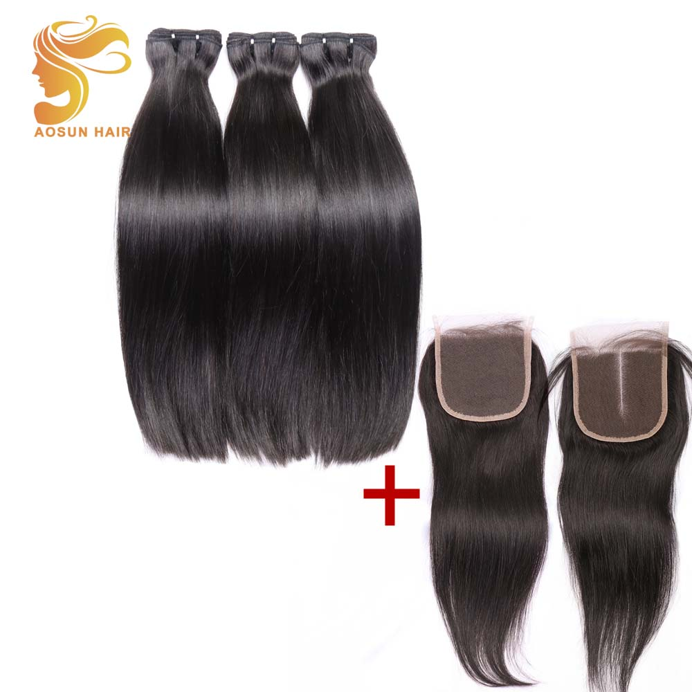 AOSUN HAIR Brazilian Remy Bundles 100% Human Hair 10-20Inch Double Drawn Fumi Bone Straight 4PCS Human Hair Bundles With Closure