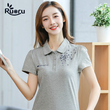 Ruoru New Fashion Summer Women Polo Shirts Short Sleeve Cotton Tops Tees Female Solid
