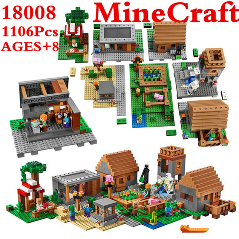 1106Pcs Model Building Kits Compatible With Lele My World MineCraft Village Blocks Educational Toys Hobbies For Children 10531 lele 2017 new technic compatible legoinglys minecrafter the nether railway building blocks my world educational toys 402 pcs