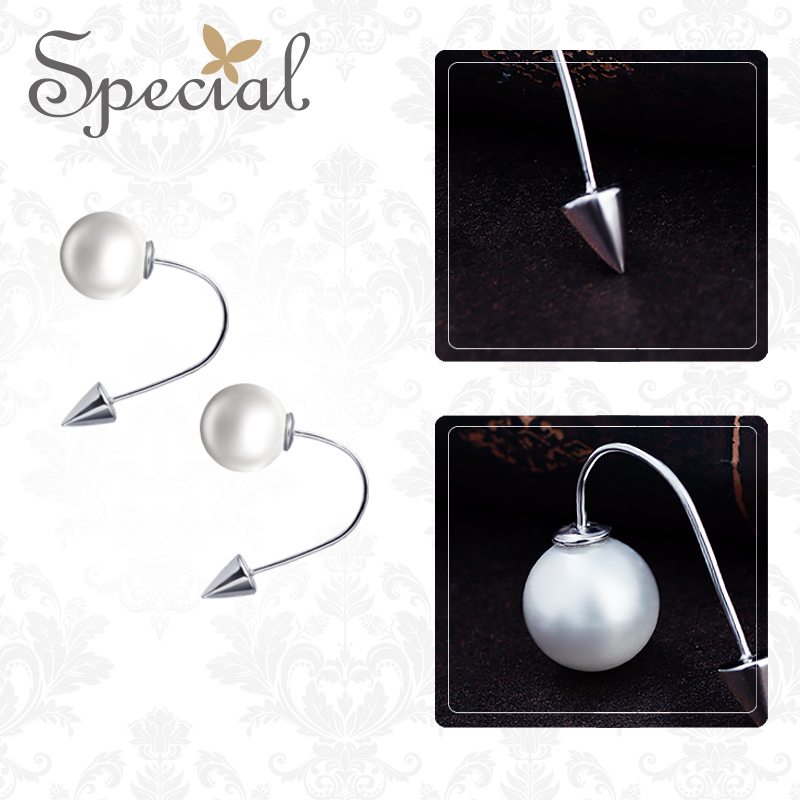Special European and American s925 white fungus earrings ear nail fashion silver based rebellious little magic girl in Stud Earrings from Jewelry Accessories