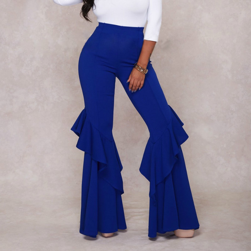 Pants High Waist Ruffles Bodycon Flare Trousers Sexy Red White Blue Black Elastic Women Fashion Summer Autumn Elegant Female New