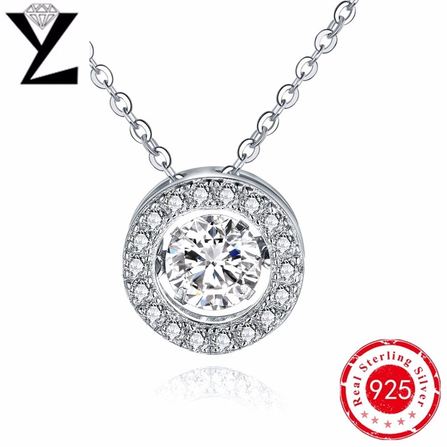 Round 925 Sterling Silver Natural Stone Necklaces Gold Plated Dancing Created Diamond Pendants for Women Best Friends Jewelry