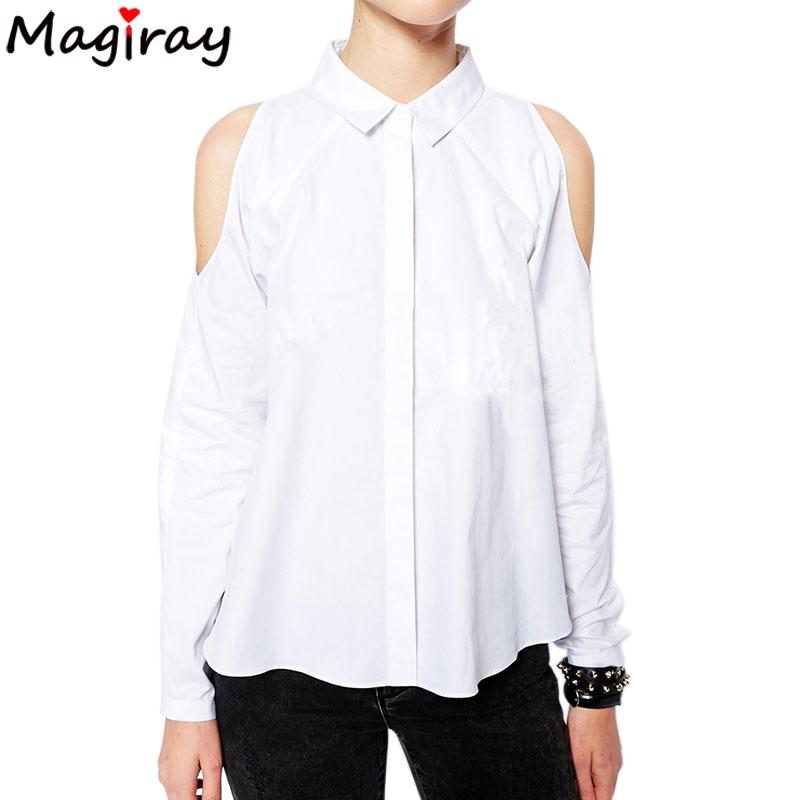 Casual Single Breasted Shirt Female Cold Shoulder White Shirt Women Tops 2019 Summer Long Sleeve Blouse Ladies Clothing Black