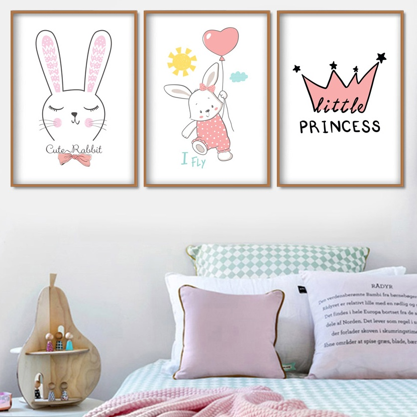 Cartoon Rabbit Balloon Sun Crown Wall Art Canvas Painting Animal Nordic Posters And Prints Pictures For Kids Room Decor