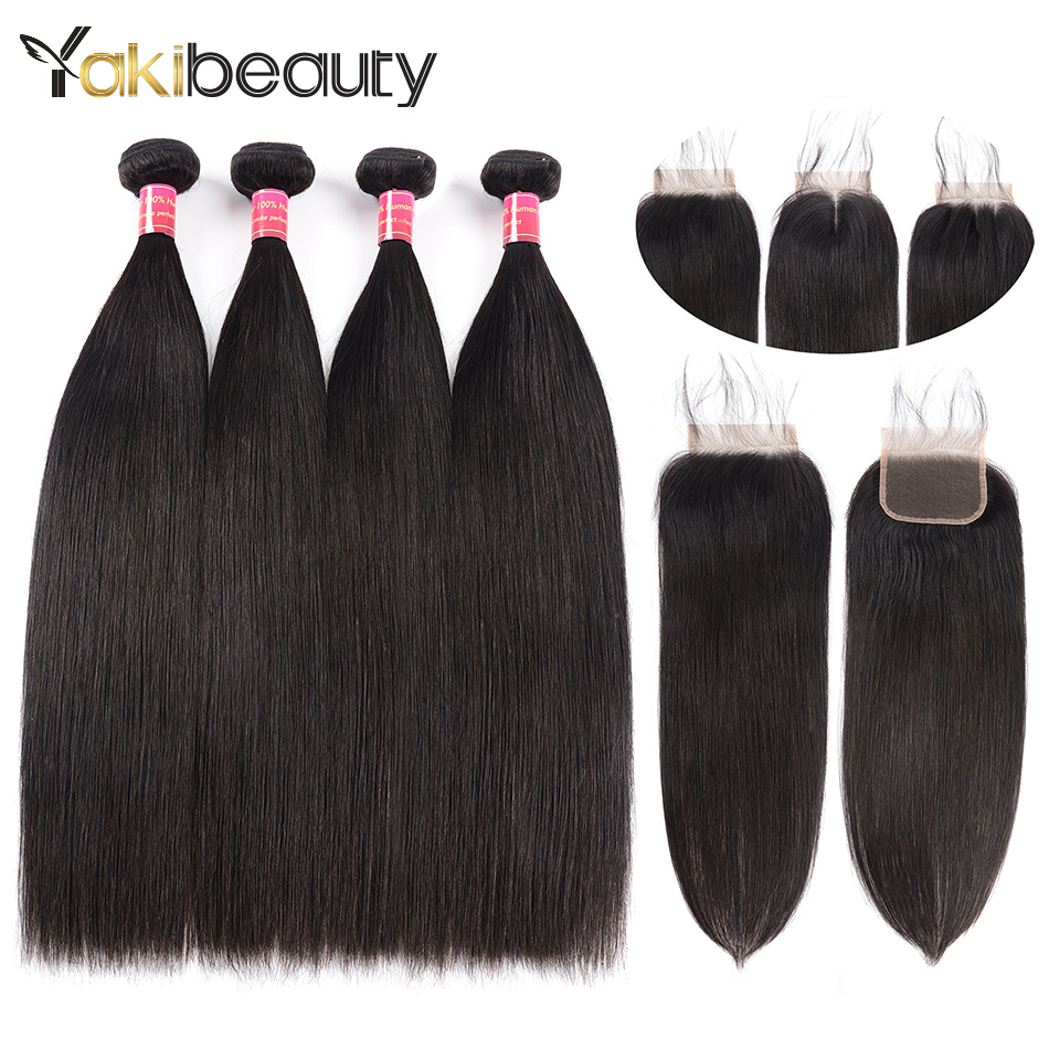 Remy Hair Straight Hair Bundles With Closure Brazilian Human Hair Weave 4 Bundles With Closure Free/Three/Middle Part Freeship