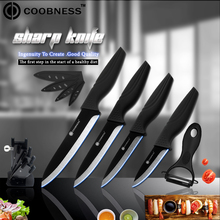 6 Piece Cooking Ceramic Knife Set COOBNESS Kitchen Peeler+Knife Holder+3