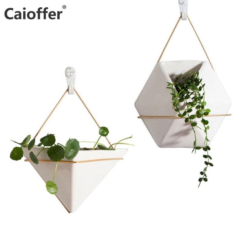 Caioffer Wall Mounted Simple Vase Home Decorative European Nordic Style Maceta Geometric Ceramic Hanging Flower Vasi For Plant