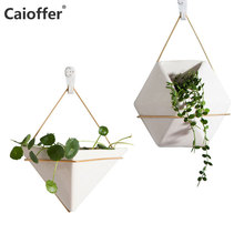 Caioffer Wall Mounted Simple Vase Home Decorative European Nordic Style Maceta Geometric Ceramic Hanging Flower Vasi For Plant