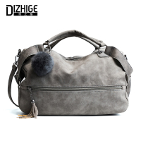 DIZHIGE Tassel Fur Boston Luxury Handbags Women Bags Designer Handbag High Quality Leather Women Shoulder Bag