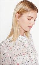 New EQ 100% silk colorful hexagram star Ladies long sleeve  blouses women silk shirt  spring autumn