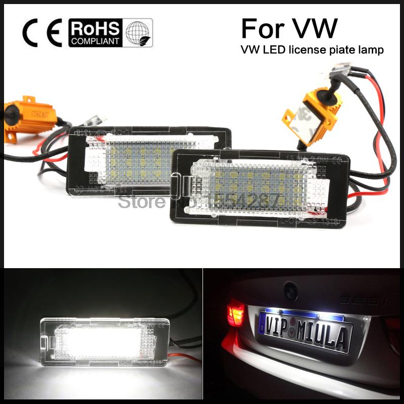 Error Free LED License Plate Light For VW touran Touareg Polo jetta 2011-2012 no error car led license plate light number plate lamp bulb for vw touran passat b6 b5 5 t5 jetta caddy golf plus skoda superb
