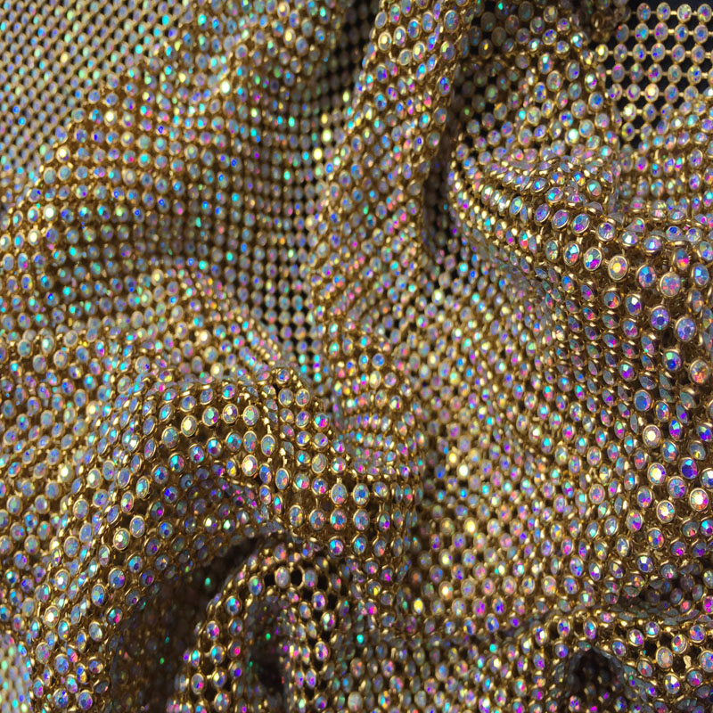 ZY Chunky Glitter AB Rhinestones GOLD Metal Mesh Fabric Metallic cloth Metal Sequin Sequined Fabric Home Decoration Curtain