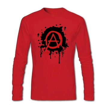 Vintage Style Mens Anarchy Logo Tee Shirts Punk Design Tubthumping Tees T Shirts Cheap Price Full Sleeve Retro for Mens O Neck image
