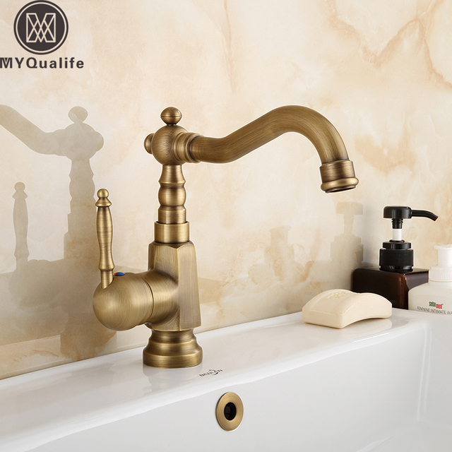Free Shipping Deck Mounted Bathroom Vessel Sink Mixer Faucet Single Handle  Rotate Spout Lavatory Sink Hot