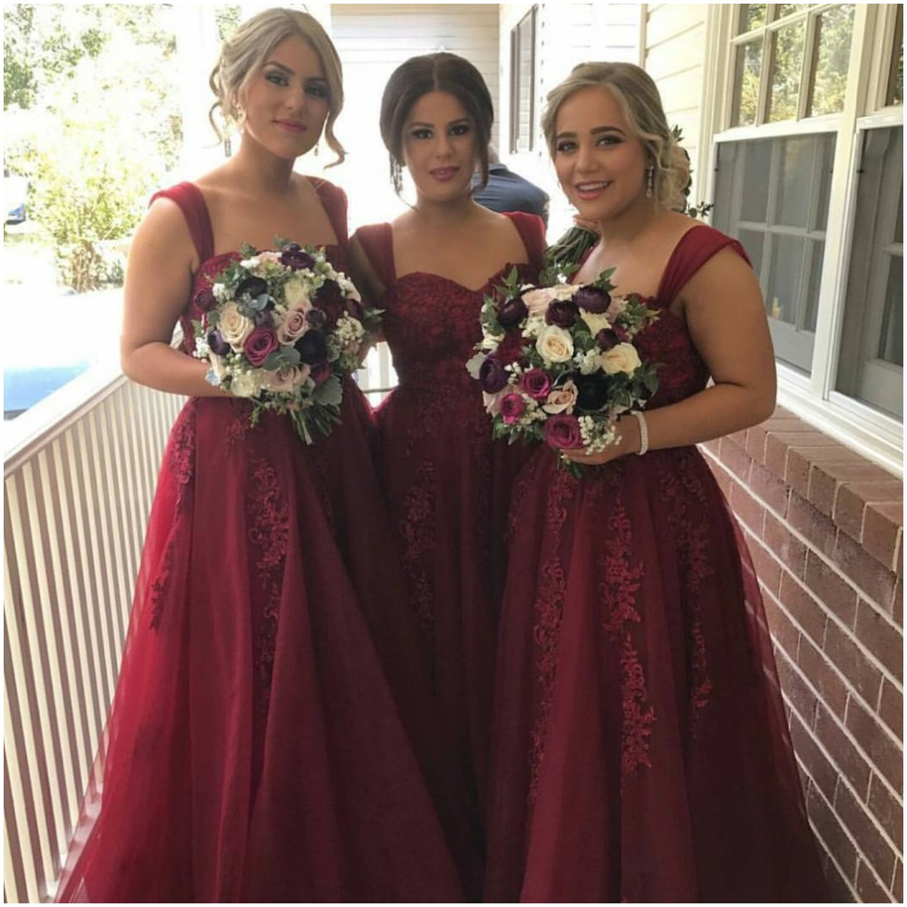 Simple Elegant Lace Tulle   Bridesmaid     Dresses   Sweetheart Neckline Cheap Wedding Party   Dress   Sleeveless