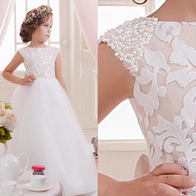 Vestidos De Comunion 2019 Lace Kids Evening Gowns Flower Girl Princess Dress first Communion dress Party