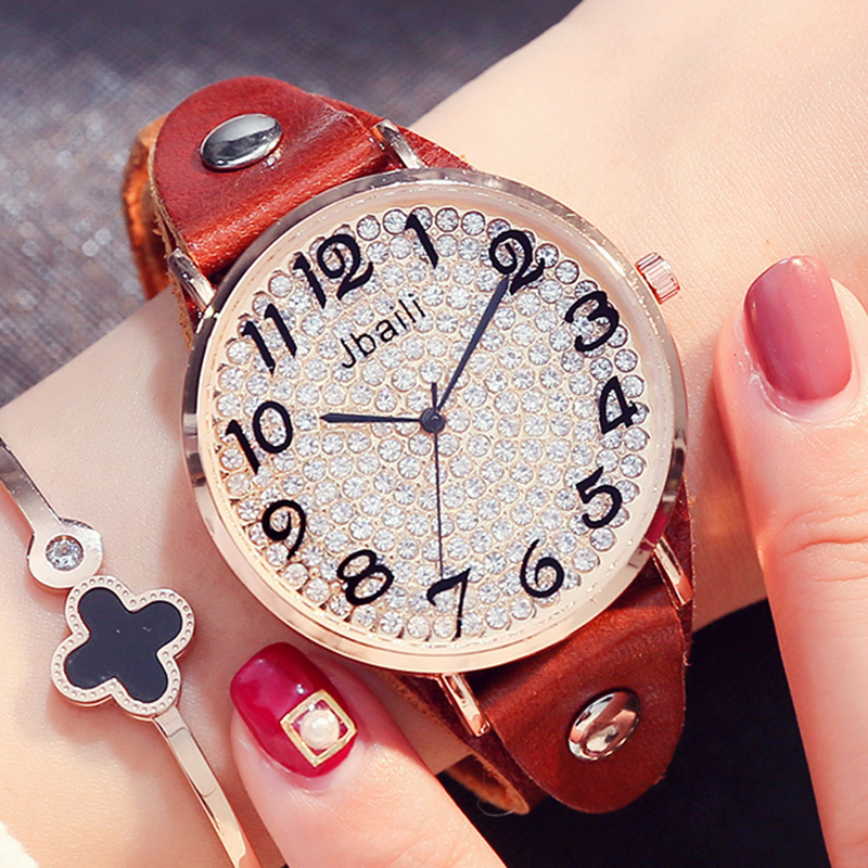 New Fashion Brand Jbaili Quartz Watch Women Rhinestone Dial Dress Beautiful Ladies Wristwatch Genuine Leather Strap Gift Box high quality fashion dial genuine leather strap top sale quartz watch women and men dress wristwatch personality