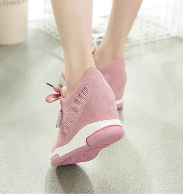 2017spring summer women mesh wedges High heels women casual shoes height increased high top shoes  loafers Feminino fashion shoe
